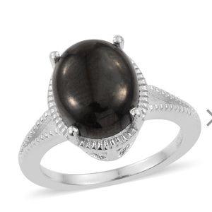 Shungite Sterling Silver Split Ring (Size 7.0)
